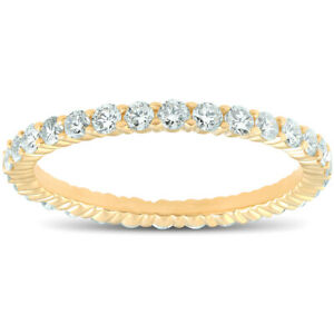 1-ct-Diamond-Eternity-Ring-Womens-Stackable-Wedding-Band-14K-Yellow-Gold