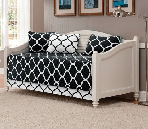 Fancy Linen 5pc Modern Bedspread DayBed Black White Geometric Quilted New