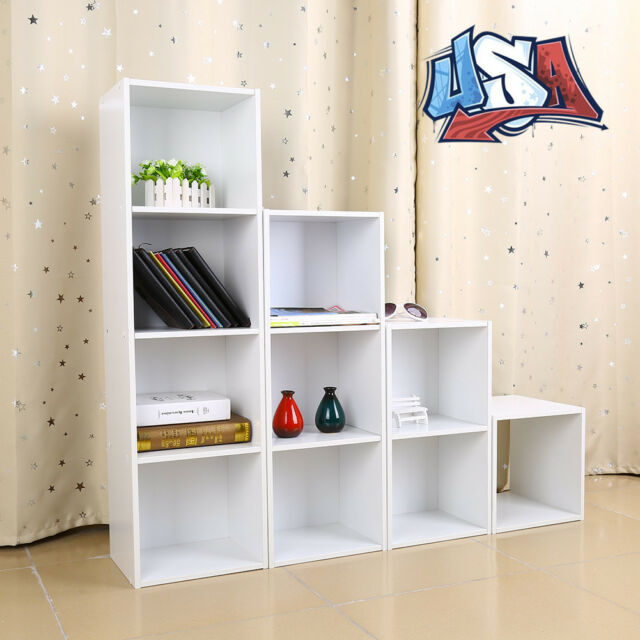 Bon 4 Shelf Multi Functional Wooden Storage Bookshelf Bookcase Cube Cabinet DIY
