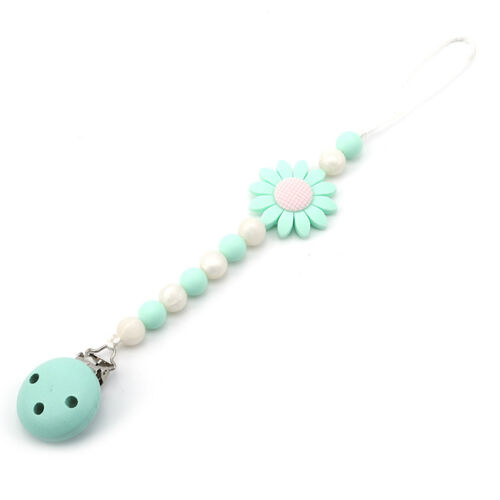 Flower Handmade Dummy Pacifier Clip Chain Holder Soother Nipple Clamp For Baby C