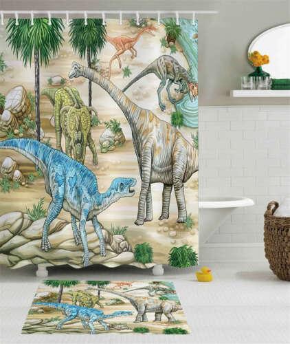 Dinosaur World Waterproof Bath Polyester Shower Curtain Liner Water Resistant