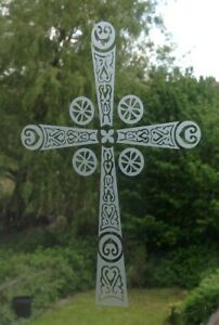 Trefoil Cross Religious Medieval Frost Etch or Stained Glass Effect Window Decal