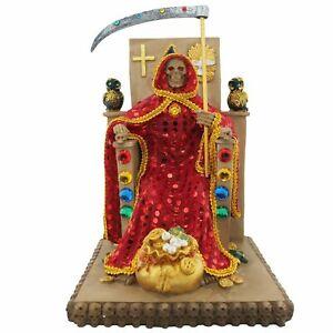 12-034-Red-Santa-Muerte-Statue-Holy-Death-Grim-Reaper-Owl-on-Throne