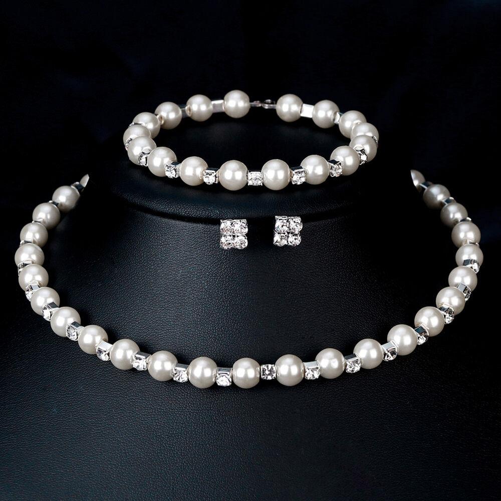 Elegant Women Faux Pearl Necklace Bracelet Stud Earrings Jew