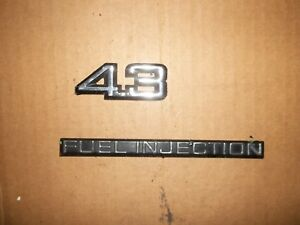 Details about 4 3 FUEL INJECTION NAMEPLATE EMBLEM SET FENDER 85-88 CAPRICE  MONTE 86 87 CHEVY