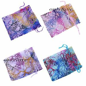 25-50-100-Sheer-Coralline-Organza-Jewelry-Pouch-Wedding-Party-Favor-Gift-Bags