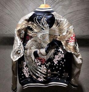 Mens-Souvenir-Jacket-Sukajan-Japanese-Pattern-Embroidery-REVERSIBLE-Phoenix-Bird