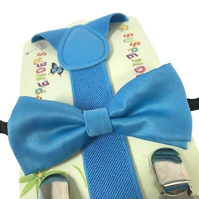 Blue Suspender Bow Tie Matching Set Wedding Toddler Kids Boys Girls Baby