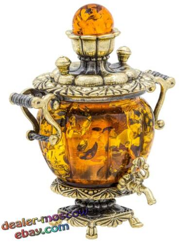 Bronze Solid Brass Baltic Amber Figurine Tubby Russian Samovar Statuette