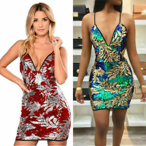 Women-sexy-Sequins-Party-Print-Bodycon-Clubwear-Cocktail-Evening-Mini-Dress