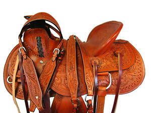 HARD-SEAT-WESTERN-WADE-RANCH-SADDLE-TOOLED-LEATHER-ROPER-ROPING-HORSE-15-16-17