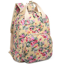 Women Fashion Flower Print Oilcloth Large Tote Bag School Travel Backpack Beige
