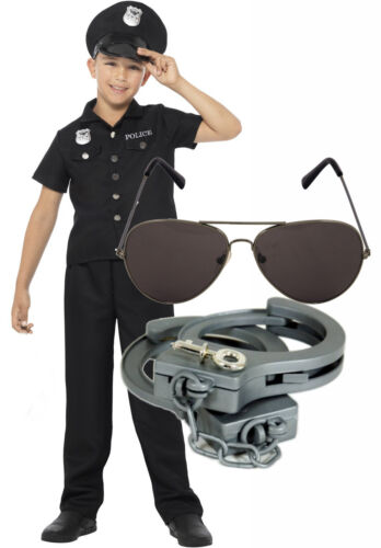 Cuffs Shade Smiffys US American Police New York Cop Boys Fancy Dress Costume