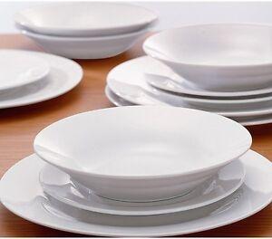 Plain White Dinner Plates Set 12 Piece Bowls Porcelain