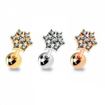 """1pc Gem Snowflake Surgical Steel Tragus Helix Cartilage Barbell Ring 18g 1/4"""""""