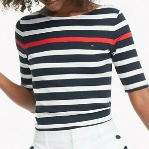 Tommy-Hilfiger-Damen-3-4-Arm-T-Shirt-Baumwolle-T-Shirt-Alle-Grossen