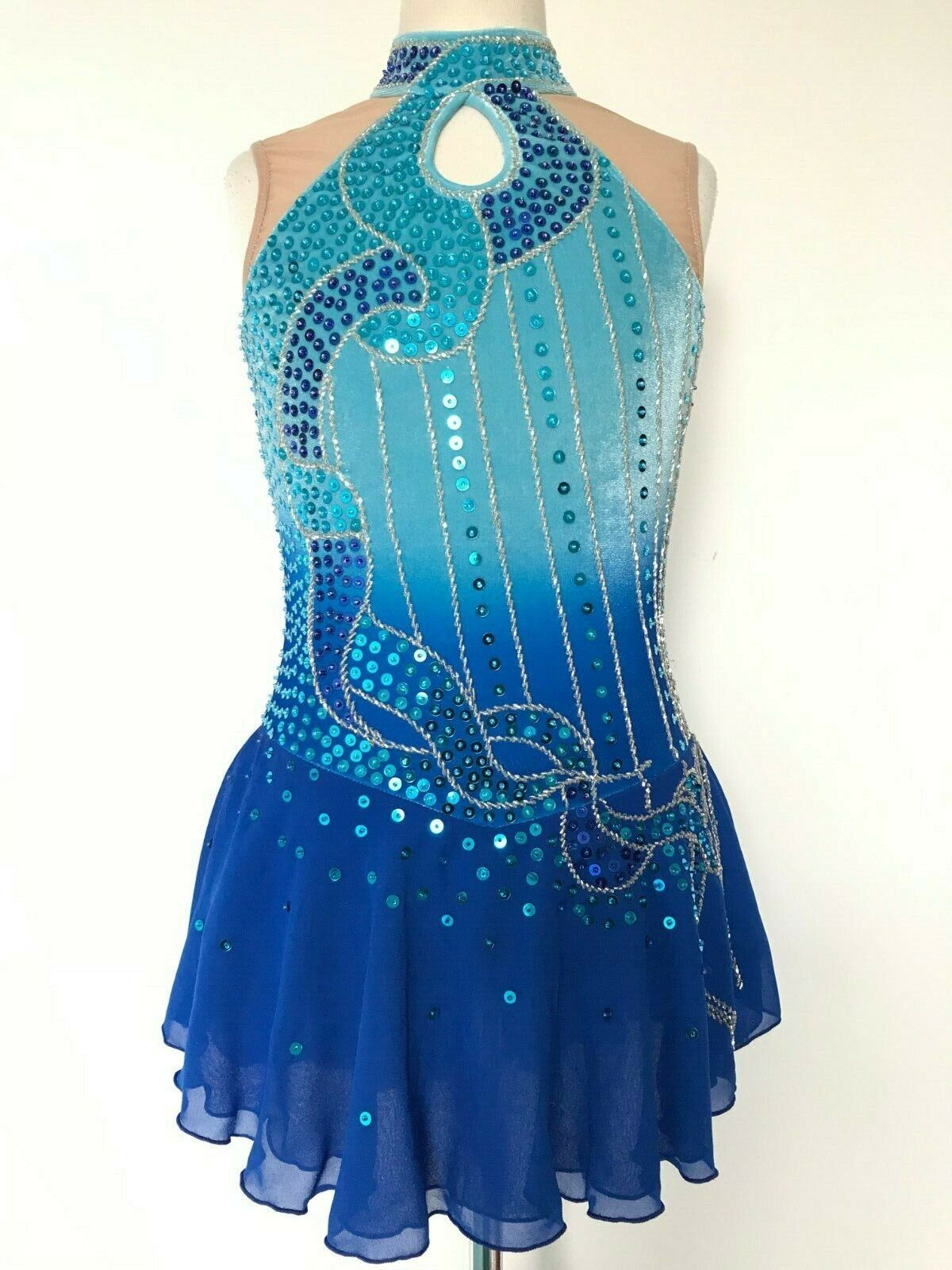 NEW FIGURE ICE SKATING BATON TWIRLING DRESS COSTUME ADULT L