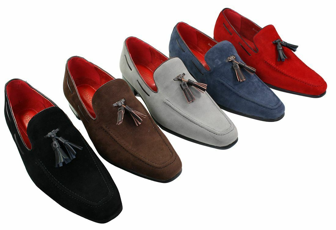 Mens Suede Loafers Driving shoes Slip On Tassle Design Leather Smart Casual