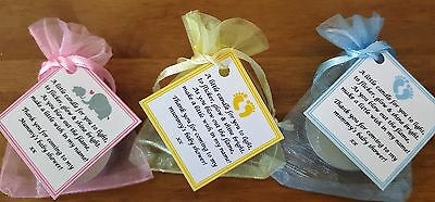 Baby Shower Candela Favori Grazie-blu Rosa Giallo Elefante Cicogna Baby Feet-