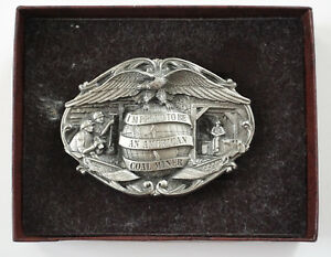 Vtg-1984-I-039-m-Proud-To-Be-An-American-Coal-Miner-Metal-Mining-Belt-Buckle-NEW
