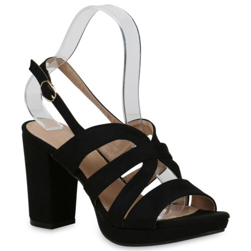 Damen Riemchensandaletten High Heels Sandaletten Party Schuhe 822591 Trendy