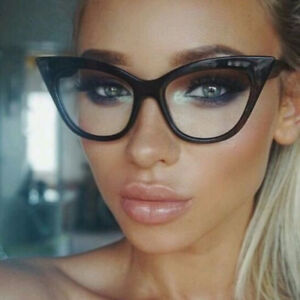 7735fb5987 Nerd Retro Sexy Women Fake Eyeglasses Frame Fashion Cat Eye Clear ...