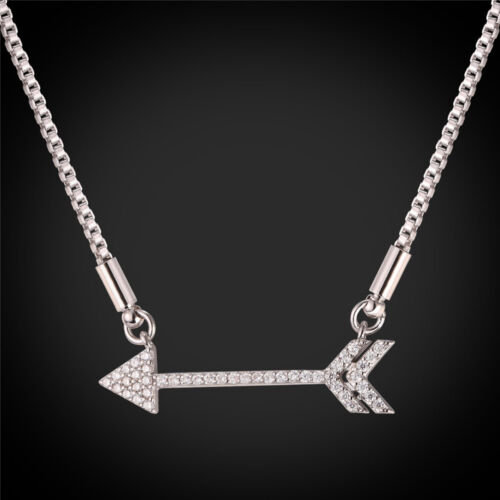 U7 Arrow Bar Necklace 18KGP Zirconia Bar Pendant Box Chain Jewelry for Women Her