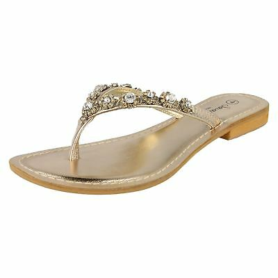 R3A Savannah F0R687 Ladies Toe Post Flip Flops Gold Colour Jewel Detail