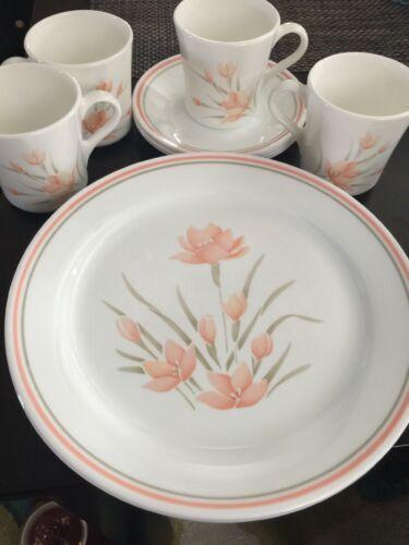 CORELLE  DINNERWARE Peach Florals SET OF 5  PIECE SERVING 20 Pcs 4