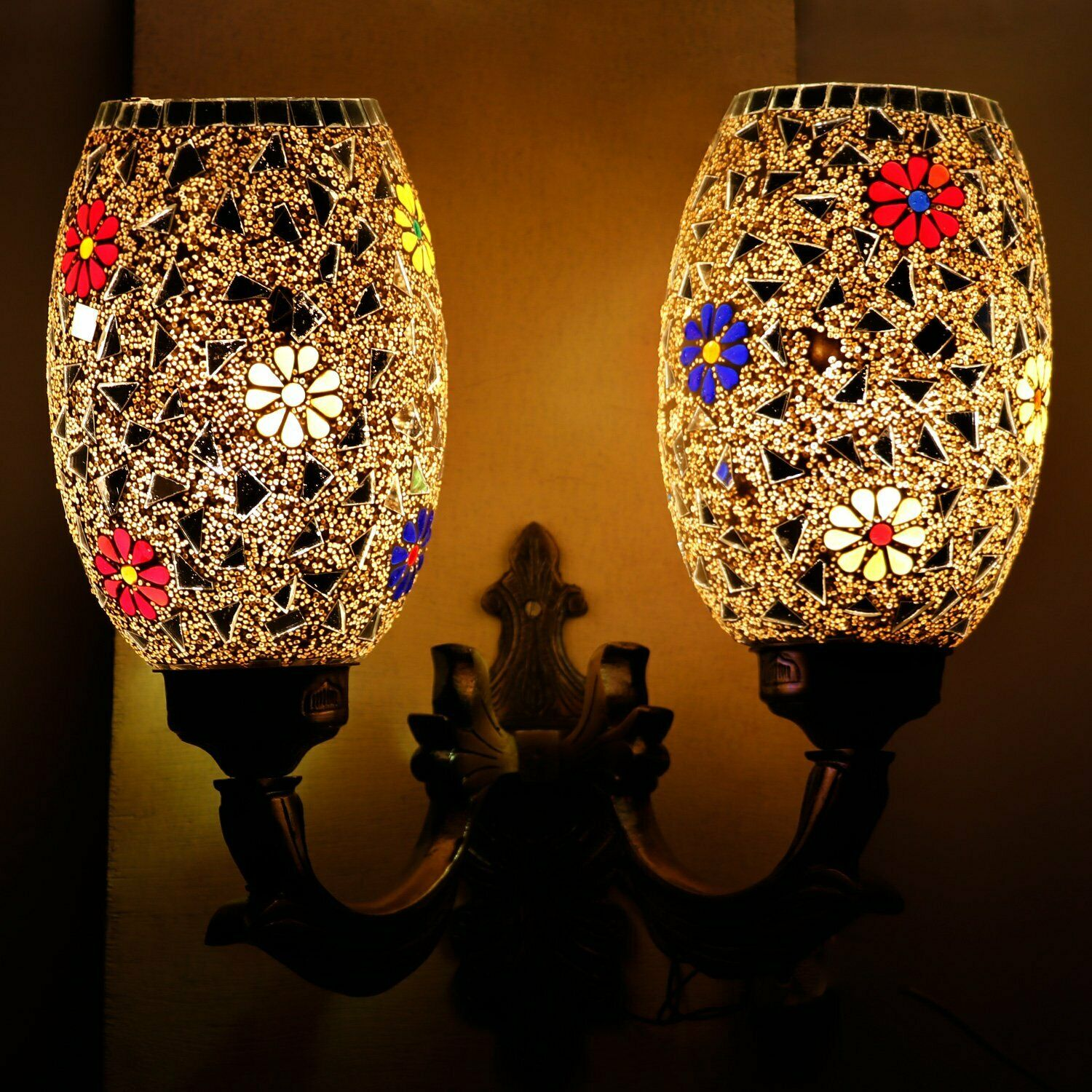 Mosaic Decorated 2 Dome Glass Wall Lamp Wall Sconce Mount