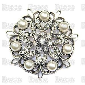 PEARL-FILIGREE-ROUND-BROOCH-vintage-silver-fashion-RHINESTONE-crystal-UK-GIFT