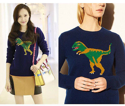 Street Fashion Women Dinosaur Motif Softly Wool Blend Pullover Sweater Bloggers