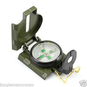 Compass-Lensatic-LENS-ARMY-GREEN-Military-Hiking-Camping-Magnifier-sent-from-AU