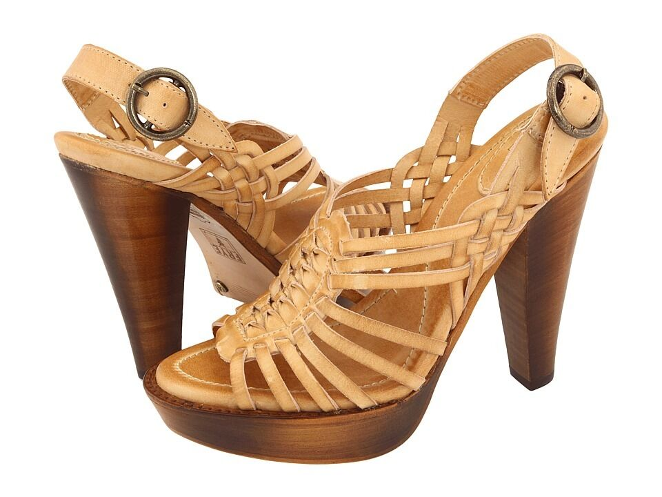 Frye Joy Huarache Sling Leather Braided Braided Braided Strap Open Toe Heels Sandals schuhe 10 M 3ac17b