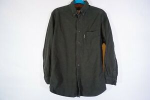 Woolrich-men-039-s-size-M-100-cotton-olive-green-button-up-long-sleeve-casual-shirt