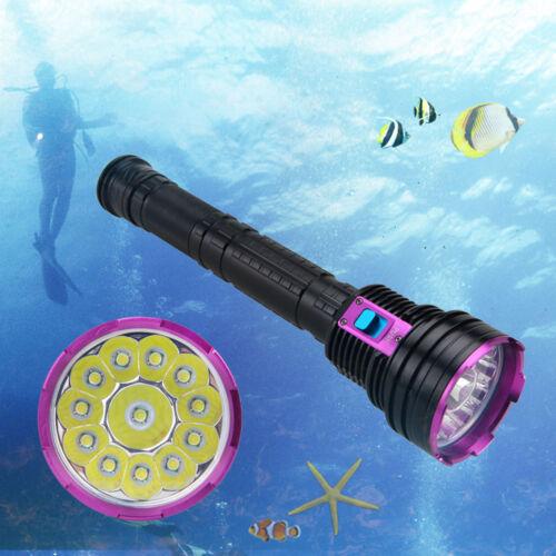 Buceo Linterna Antorcha 12x T6 LED 3X18650//26650 30000LM 200m bajo el agua