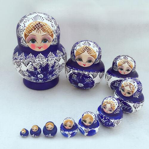 10Pcs Wood Russian Matryoshka Nesting Dolls Blue Hand Paint Gift Decor Healthy