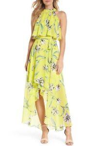 Eliza-J-New-w-Tag-YELLOW-MULTI-Floral-Asymmetric-Chiffon-Maxi-Dress-size-0