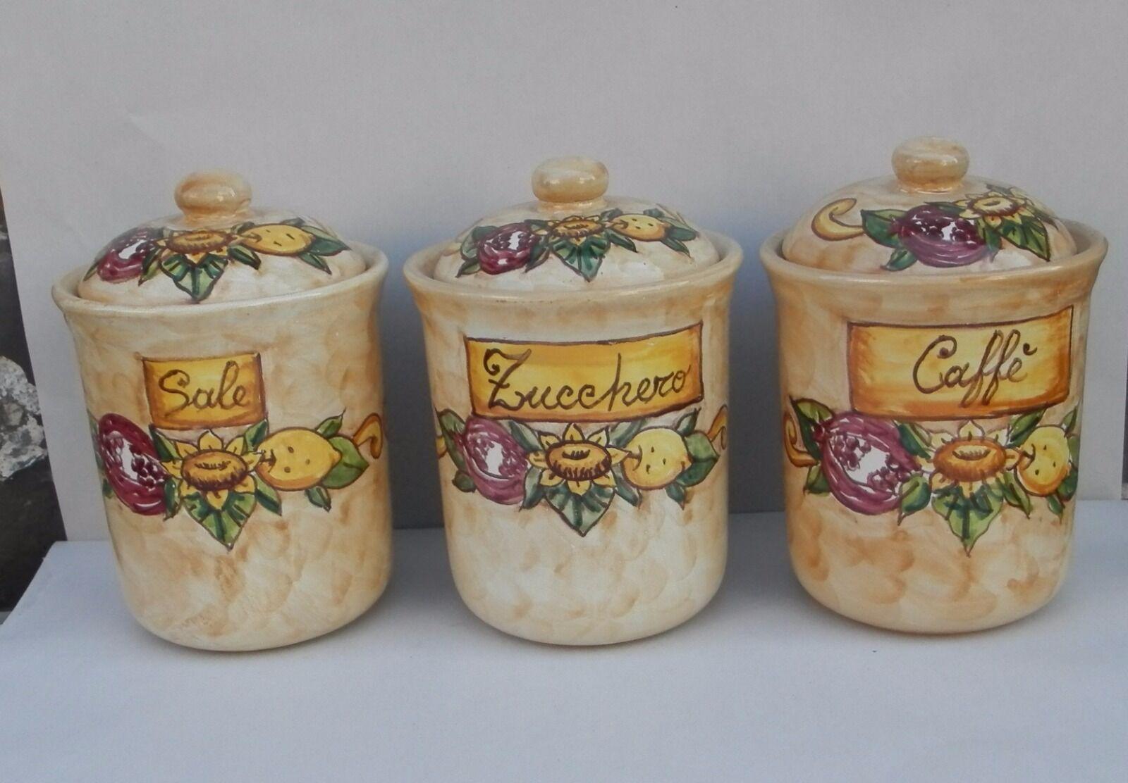 ordina ora goditi un grande sconto Tris barattoli in Ceramica Artigianale stile stile stile Vietri 100% fatto a mano AUSTRIA  bellissimo
