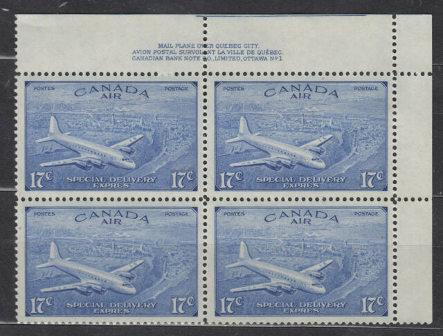 1946 #CE3 17¢ KING GEORGE VI AIR MAIL SPECIAL DELIVERY ISSUE UR PLATE BLOCK #1