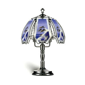 Glass Dolphin scene Black Chromed Base 3 brightness Touch Lamp 23.5in H.
