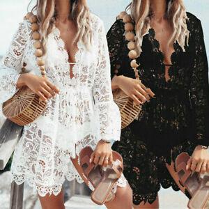 Bikini-Sheer-Swimsuit-Women-039-s-Bathing-Dress-Summer-Beach-Swimwear-Suit-Cover-Up