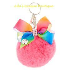 JoJo Siwa Pink Pom Pom Keychain Bow Hair Bow Plush Key Ring Clip Key Chain