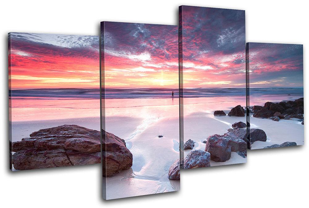 Beach Sunset Seascape MULTI Leinwand Wand Kunst Bild drucken
