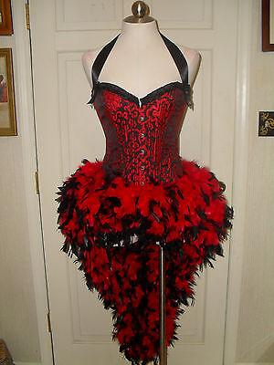 Deluxe Moulin Rouge Showgirl Burlesque HALLOWEEN COSTUME CORSET FEATHER DRESS
