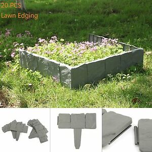 Image Is Loading 20X Lakeland Cobbled Stone Effect Plastic Garden Edging