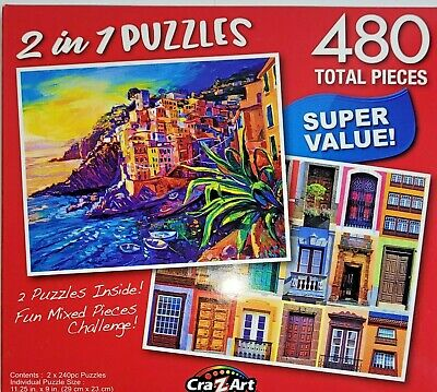 """Individual size 11.25/"""" x 9/"""" Puzzles 2 in one box NEW//Free Shipp 2-240 pieces"""