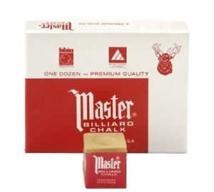 Master-GOLD-TAN-CAMEL-Pool-Billiard-Cue-Stick-Chalk-Doz-12-Pack-1-Dozen-12-ct