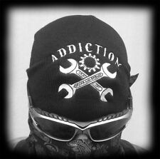 Biker Style Embroidered Knit Beanie Cap, Black Motorcycle Style Cap Hat
