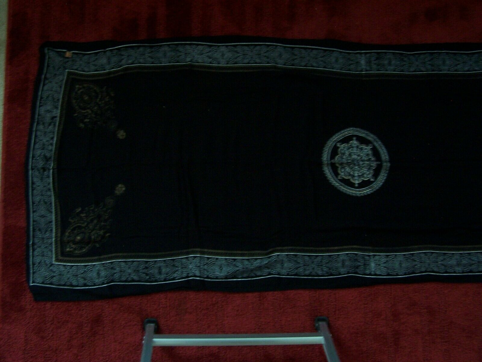 VELA Eastern Indian Asian Black Scarf / Tapestry / Wall